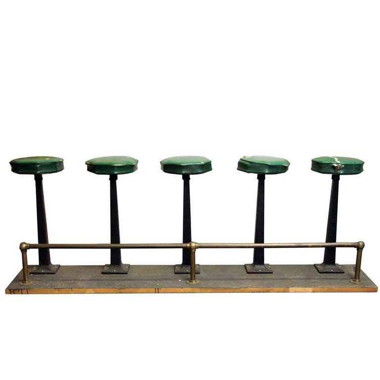 1890s Five Seat Stool Unit With Brass Foot Rail Rest For