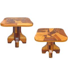 Pair of Handcrafted Wood Marquetry Side Tables
