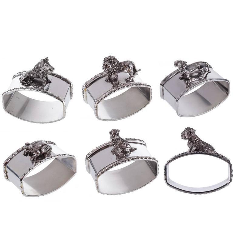 Set Of 6 Animal Sterling Silver Napkin Holders