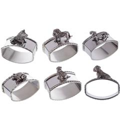 Set Of 6 Animal Sterling Silver Napkin Holders