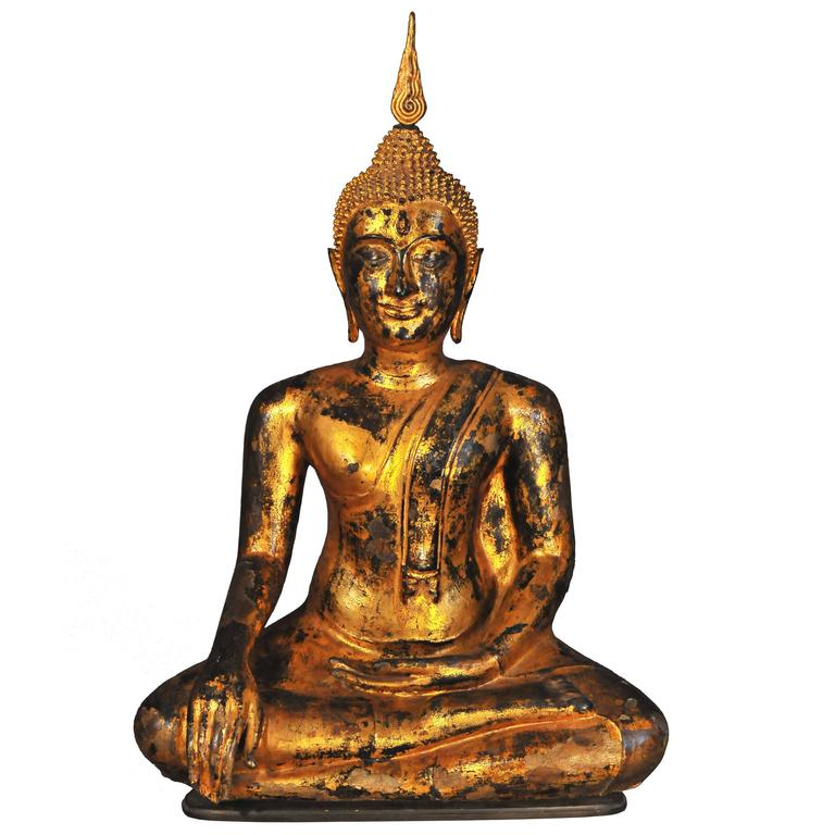 Late 17th Century Gilt Bronze Buddha in Bhumisparsha Mudra, Ayutthaya, Thailand For Sale