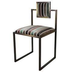 Sarnia Aqua Brass Square Chair