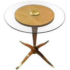 Rene Prou Sycamore Gueridon with Glass Top and Bronze Sabot