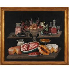 Still Life with Fruit, Cheese, Cakes, Wine, Milk and Peppermint Sticks