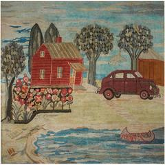Pictorial Hooked Rug Depicting a Cottage by a Lake