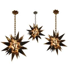 Group of Three Smoky Brown Rock Crystal Star Chandeliers