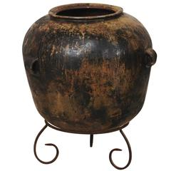 Guatemalan Ceramic Jar on Custom Scrolled Stand with Lovely Patina & Warm Hues