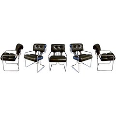 Set of Five Tucroma Pace Chairs in Olive Green by Guido Faleschini