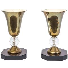 Chic Pair of Art Deco Urn Lamps