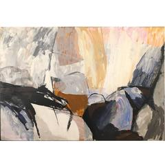 "Signed ""Mariette Bevington"" Titled Monadnock, Mid-Century Abstract Painting"