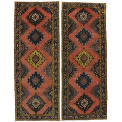 Pair of Vintage Oushak Runners with Modern Style