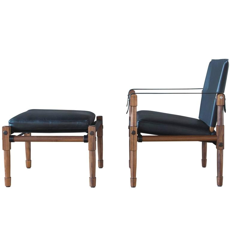 Chatwin Lounge and Ottoman in Oiled Walnut with Leather Upholstery