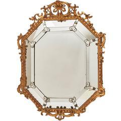 Octagonal Napoleon III Giltwood Mirror, French, circa 1880