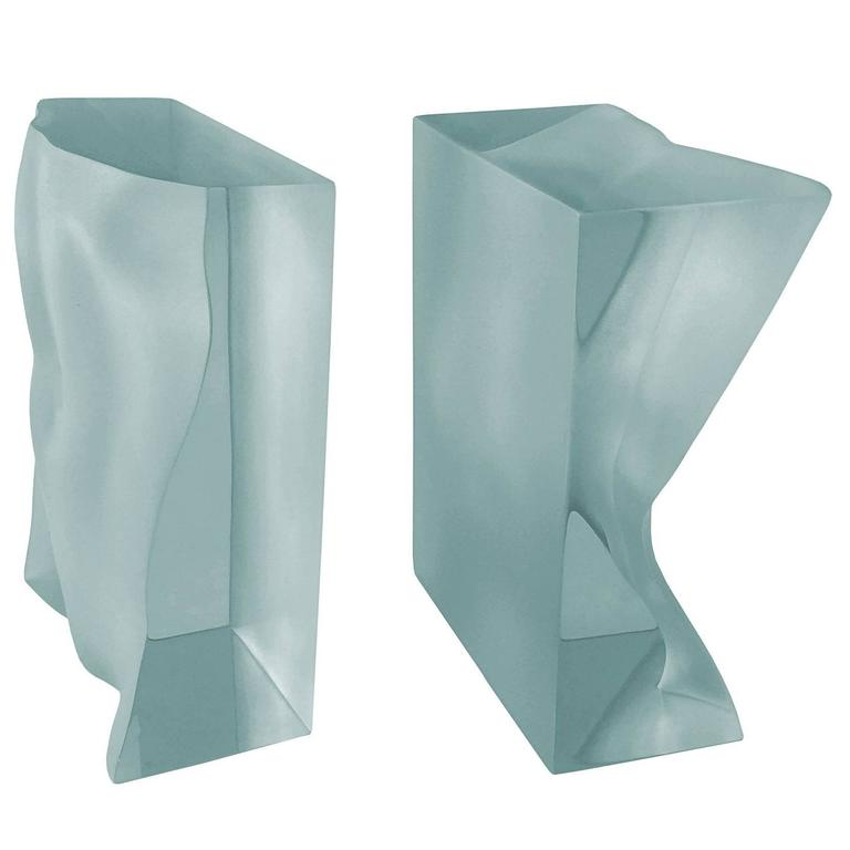 "Tanya Ragir ""Bookends"" Sculpture in Aqua Lucite"
