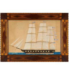 Watercolor Portrait of a Three-Masted Ship in a Marquetry Frame