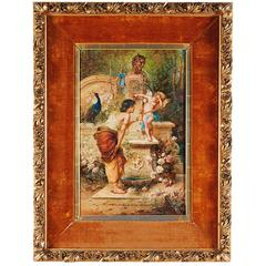 "Hans Zatzka, 'Austrian, 1859-1945' ""Punished Levity"" Oil on Panel Painting"