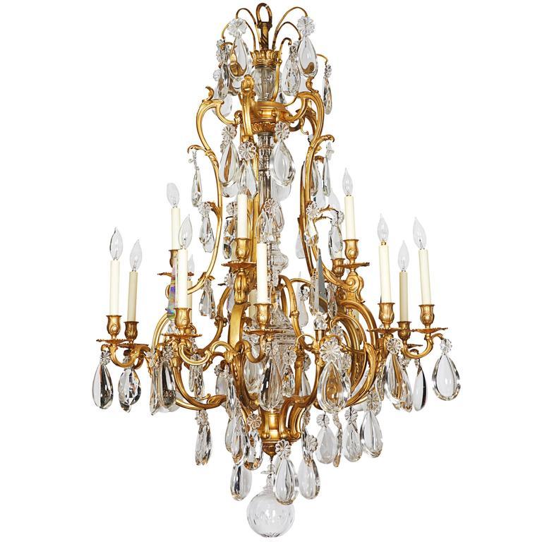 French Ormolu Bronze Baccarat Glass & Rock Crystal Fifteen-Light Chandelier