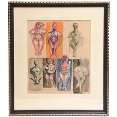Vintage Midcentury Signed Chamberlain Custom Museum Framed Watercolor/ SALE