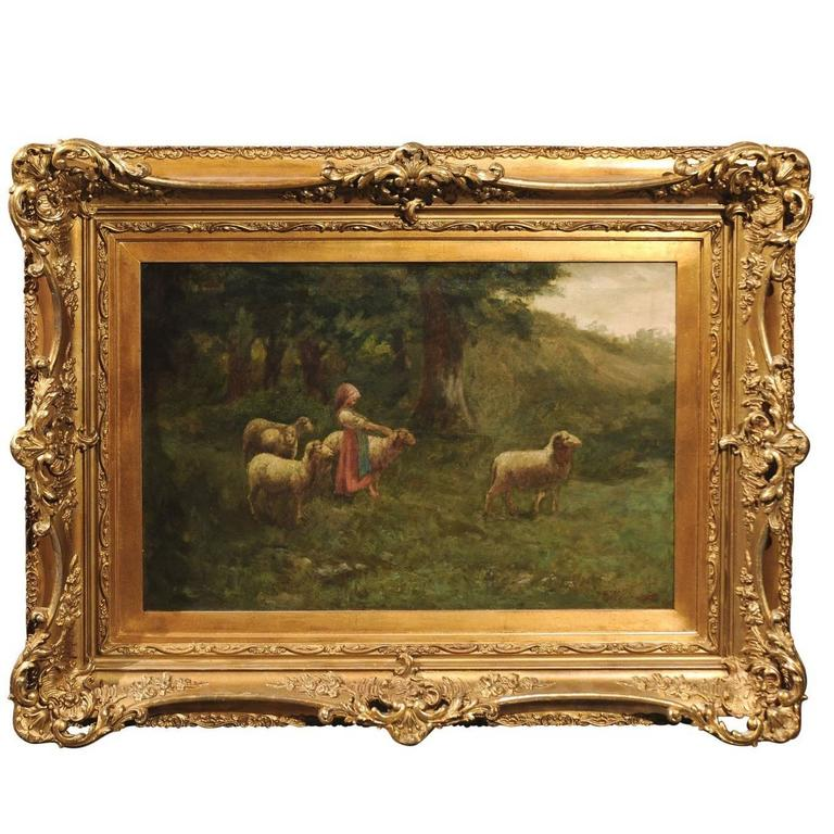 large antique oil painting of sheep and shepherdess in antique giltwood frame for sale at 1stdibs. Black Bedroom Furniture Sets. Home Design Ideas