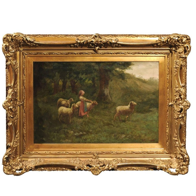 Large Antique Oil Painting of Sheep and Shepherdess in Antique Giltwood Frame For Sale