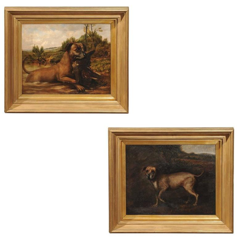 Pair of English oil paintings, ca. 1880, offered by English Accent Antiques