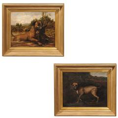 Pair of English Dog Oil Paintings from the Late 19th Century in Hunting Scenes