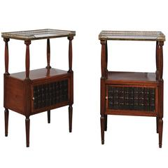 Pair of English Turn of the Century Mahogany Side Tables with Faux Book Doors