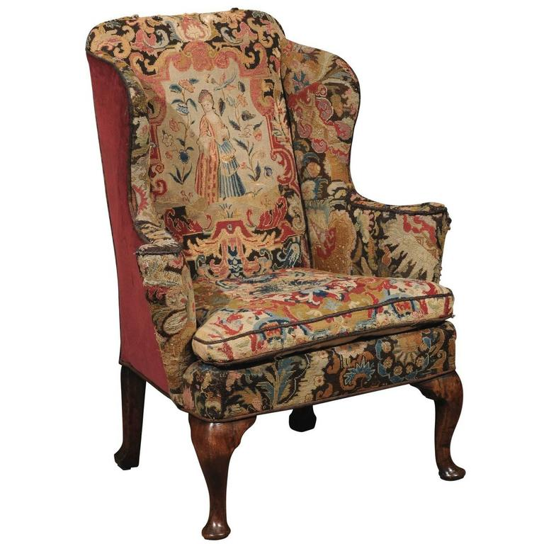 18th century english queen anne wing chair in walnut with for Queen anne furniture