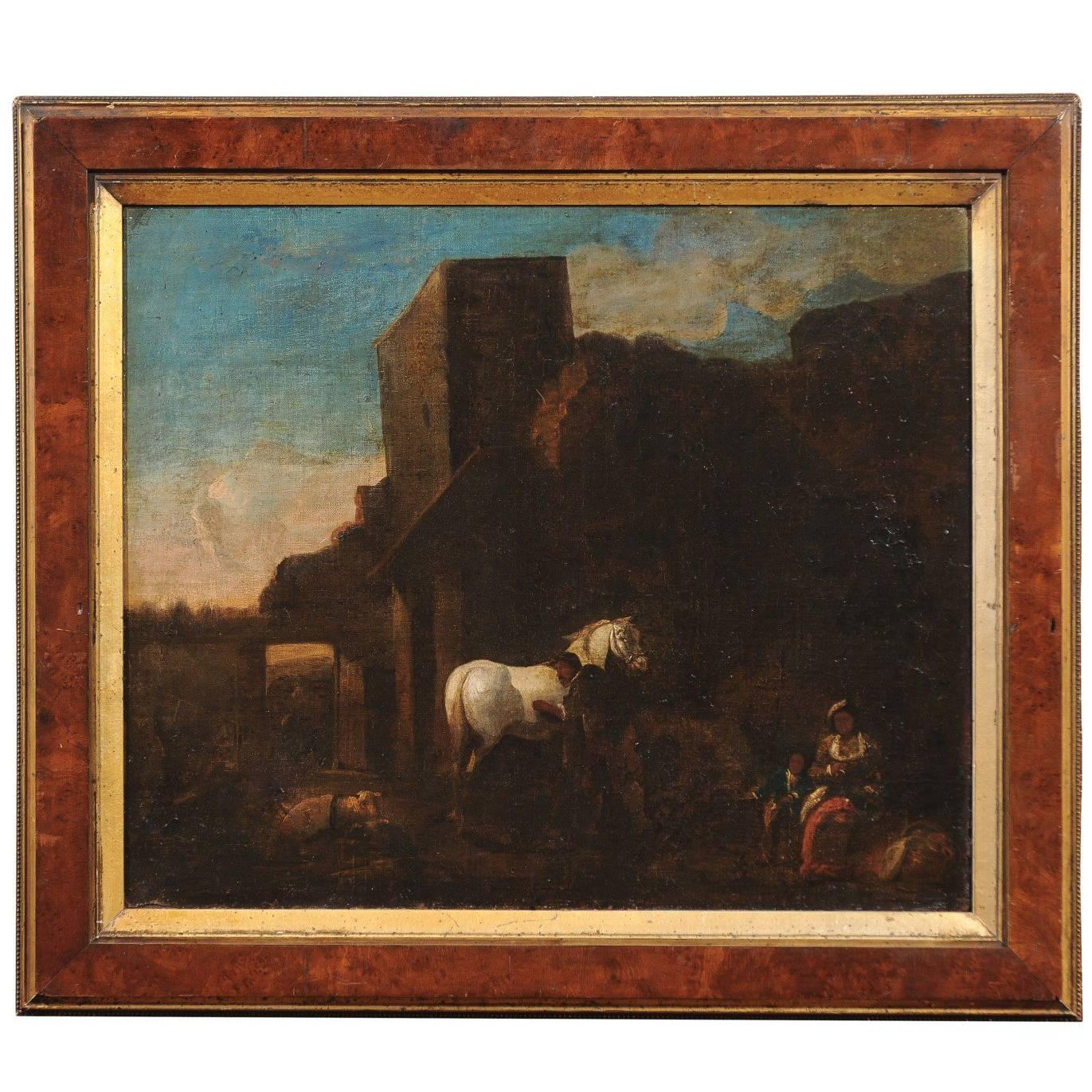 18th Century Italian Framed Oil on Canvas Painting of Horse in Landscape