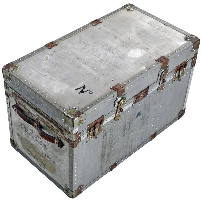 Korean War Era Vintage Aluminum Military Trunk