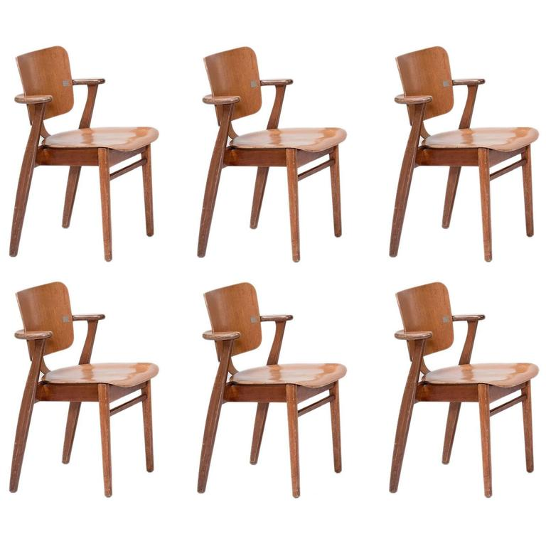Set of Six Tapiovaara Armchairs, circa 1953 1