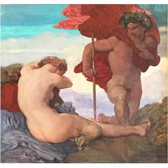 """Dionysus and Ariadne,"" Mythological Painting by Secessionist Master, 1924"