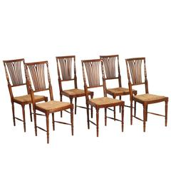 Mid 20th C. Set 6 Chiavari Chairs in Walnut, Straw Seat, atributable Cassina