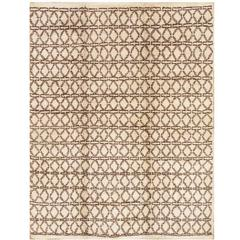 21st Century Contemporary Ivory and Brown Moroccan Rug