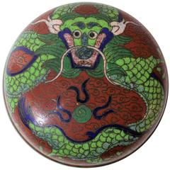 Chinese Cloisonne Trinket or Pill Box with Dragon