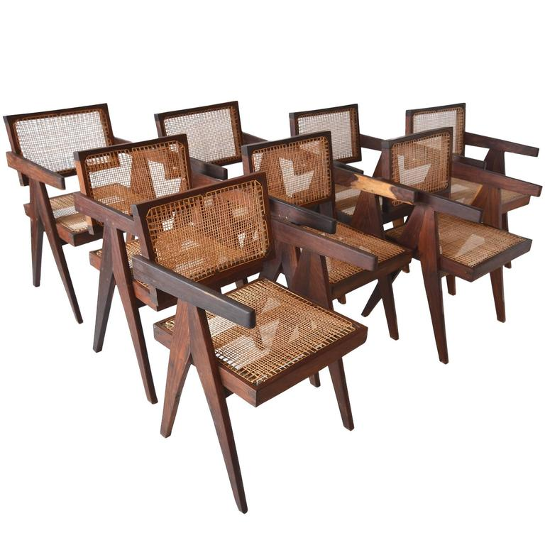 Exceptional Set of Eight Sissoo Rosewood Armchairs by Pierre Jeanneret 1