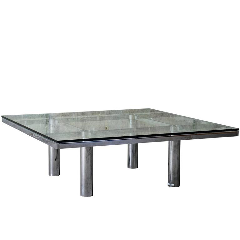 "Tobia Scarpa ""Andre"" Coffee Table, Chrome-Plated Steel and Glass for Knoll, 1967 For Sale"