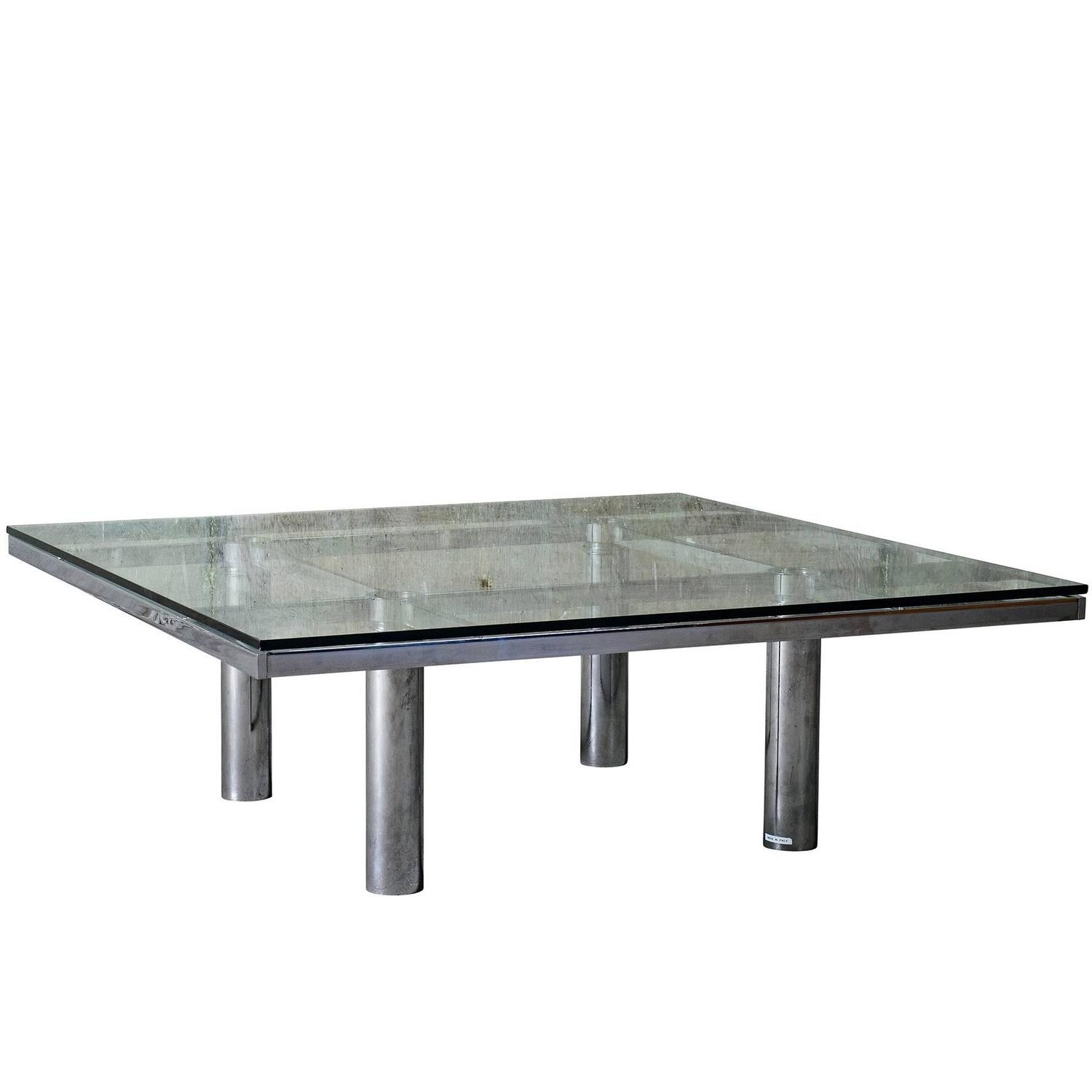 Tobia Scarpa U0026quot;Andreu0026quot; Coffee Table, Chrome Plated Steel And Glass  For