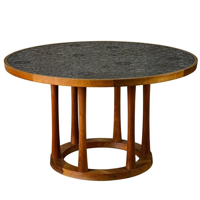 Marshall Studios Dining Table with Round Black Glazed Tiles and Walnut, 1960s For Sale
