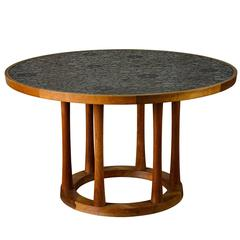 Marshall Studios Dining Table with Round Black Glazed Tiles and Walnut, 1960s