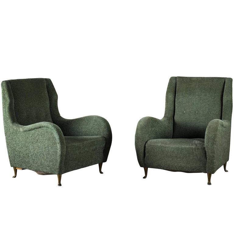 Pair of Italian I.S.A. Club Chairs with Shaped Arms on Raised Bronze Legs, 1950s For Sale