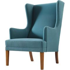 Blue Danish Lounge Chair with Ottoman