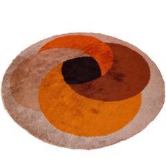1970s Circular Wool Rug in the Style of Verner Panton