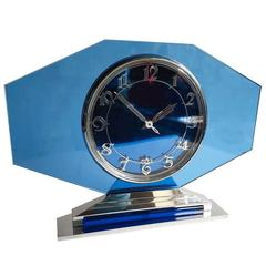 Large 1930s Art Deco French Blue Glass and Chrome Clock by Jaz