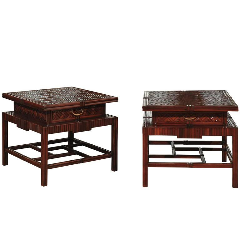 Radiant Pair of Vintage Mahogany and Rattan Herringbone Pagoda Tables