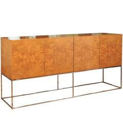 Exemplary Bookmatched Olivewood Credenza by Milo Baughman for Thayer Coggin