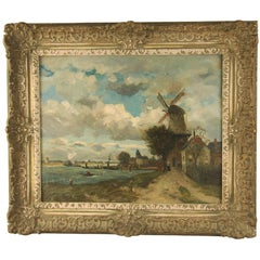 Signed Oil Painting by Jan Joseph Stapp Dutch Coast with Windmill