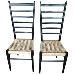 Pair of Gio Ponti High Ladder Back Chairs