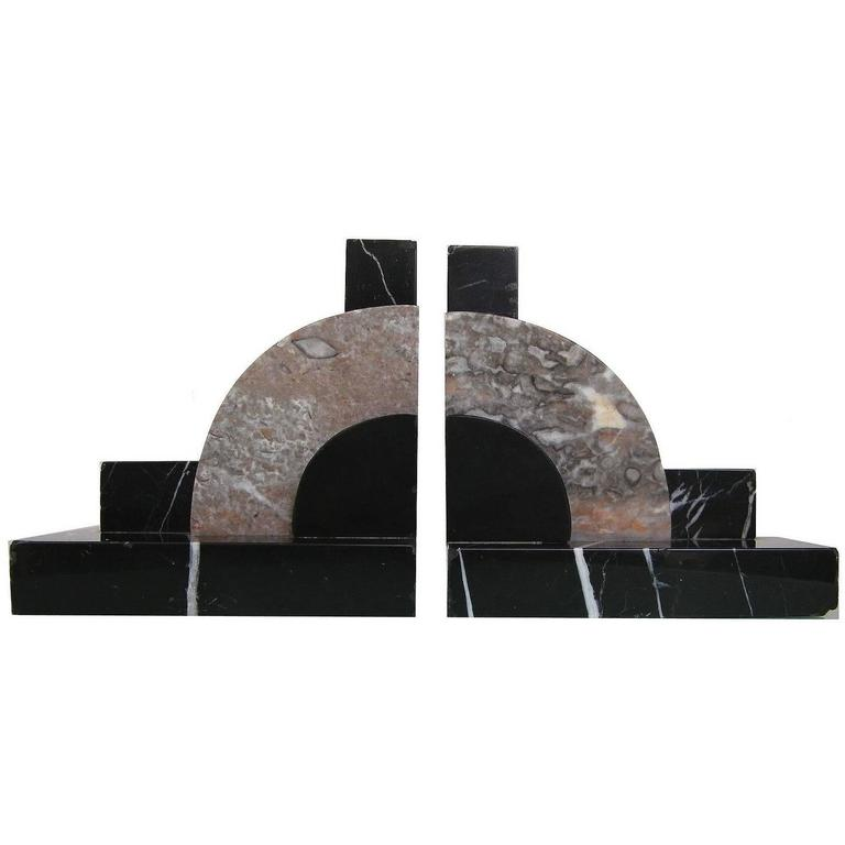 Original 1930s Art Deco Pair of Geometric Solid Marble Bookends