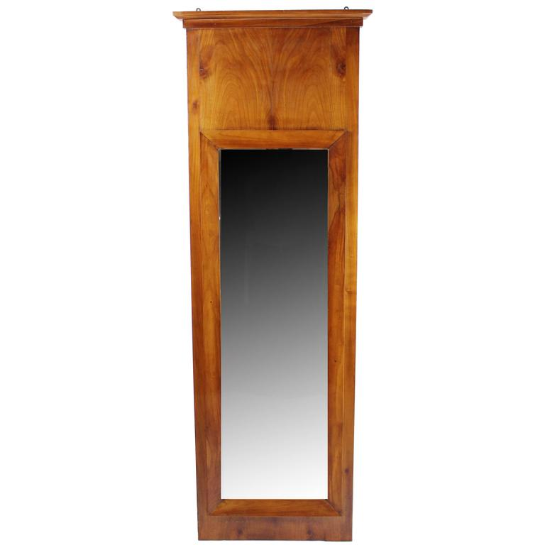 Large Biedermeier Period Pillar Mirror, circa 1830, Cherry Tree, Restored Cond